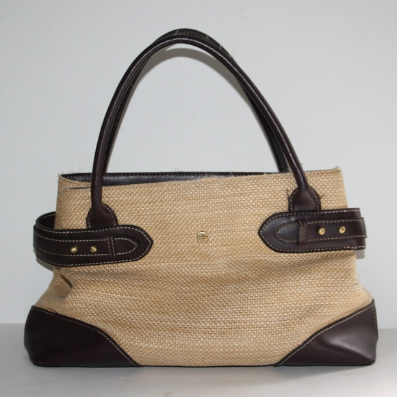 Etienne Aigner Vintage Straw and Leather Purse